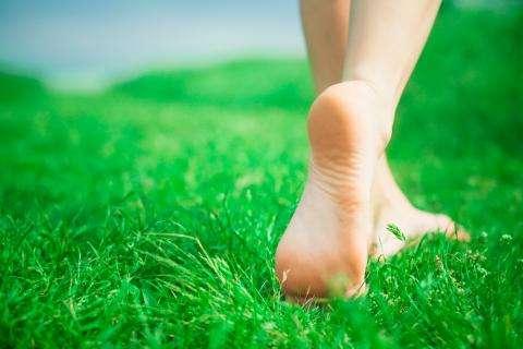 ноги на траве